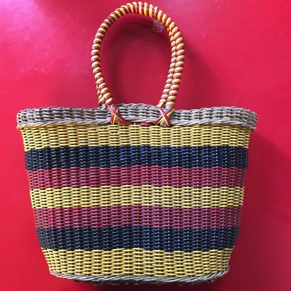 Vintage basket, 1940s basket, 40s shopping bag, red, yellow, black, handbag, picnic, summer, re enactor, vacation