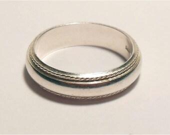 Vintage Sterling Silver Rope Border Modern Wedding Band Ring Size 6.75