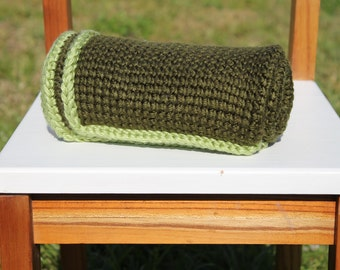 Crochet Preemie Blanket, Forest & Sage Green Tunisian Car Seat Baby Blanket, Baby Boy, Security Blanket, Baby Shower Gift, Newborn Blanket