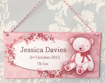 Teddy bear pink new baby plaque