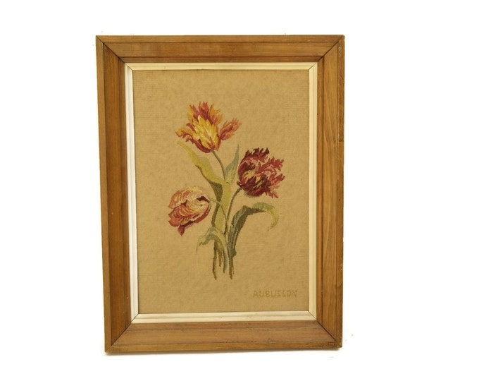 French Aubusson Tapestry. Antique Needlepoint Flower Art. Tulip Art. Framed French Tapestry. French Romantic Needlepoint.