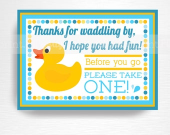 Rubber Duck Party Favor Sign INSTANT DOWNLOAD Blue Orange Yellow Rubber Duck Birthday