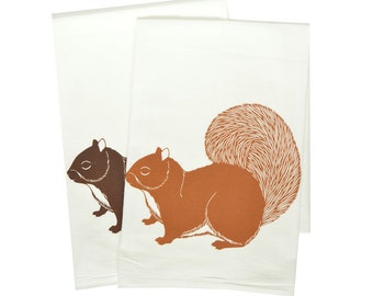 Squirrel tea towels, kitchen towel, floursack towel, squirrel tea towel, kitchen towels, spring tea towel, mothers day gift, housewarming