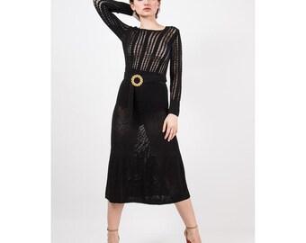 1930s Dress / Vintage black crochet maxi with belt / Open weave knit dress / Long sleeve column shape / XS S