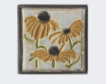 Black-Eyed Susan Arts and Crafts MUD Pi 4x4 Decorative Handmade Ceramic Tile