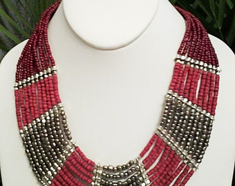 Silver, Burgandy and Dark Pink Beaded Multi Strand Necklace / Bib Necklace.