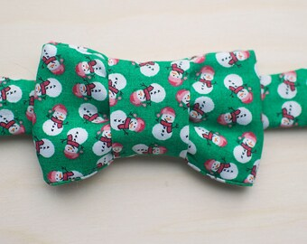 Holiday Bow Tie for Cats - Green Snowman Print