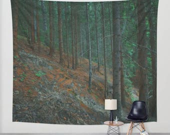 wall tapestry, oversized wall art, forest tapestry, tree tapestry, bohemian wall tapestry, nature tapestry, dark gothic green