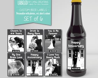Anniversary beer labels - beer gift for husband - anniversary gift - beer labels for him - custom waterproof labels - personalized labels -