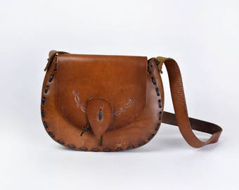 Brown Leather Purse with Hand Tooled Floral Detail
