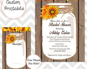 Fall Daisy Mason Jar  Bridal Shower Invitation DIY Printable