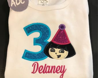 Embroidered Personalized Dora the Explorer Birthday Shirt Handmade 1st to 6th Gerber® ONESIE®
