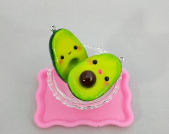 Kawaii Avocado Keychain Charm, Best Friends Charm, Vegetable Charm, Produce, Veggie Charm, Food Charm, Polymer Clay Avocado
