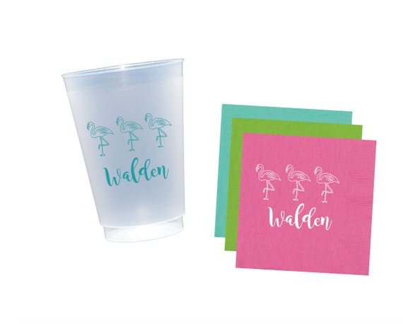 Flamingo cups, flamingo napkins, personalized plastic cups, shatterproof cups, monogrammed cups, pool cups, summer party cups, beach cups
