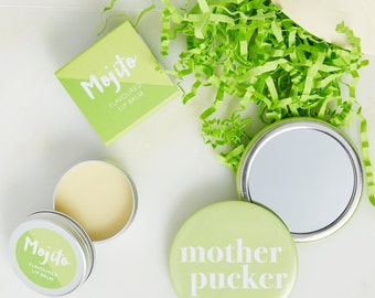 Mojito Lip Balm And Mirror Gift Set - Mojito gift - Lip Balm - pocket mirror - Christmas gift - stocking filler - Lip gloss - party favour