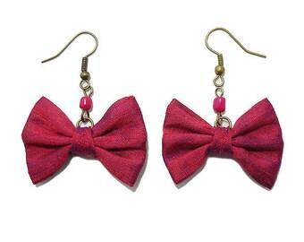 Bow tie, silk, earrings pink Fuchsia.