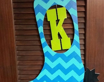 Custom Monogram Wooden Boot Wall/Door Hanging