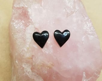 Black Colorado Oil Stone Hearts Cabochon Pair/ backed