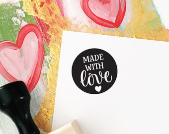 Made With Love Stamp, Rubber Stamp for Packaging and Shipping, Etsy Shop Stamp, Shipping Stamp, Stamp for Shop Owners, Thanks Stamp