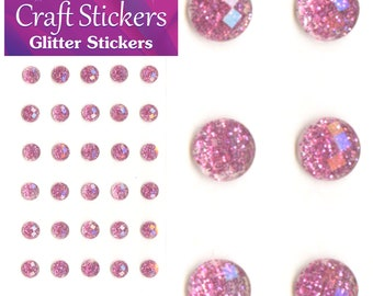 Pale Pink Self Adhesive Glitter Stickers Faceted Gems 4mm or 8mm Craft Embellishments