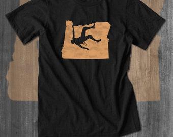 Climbing Oregon T-Shirt Belay Approach Tshirt Bouldering T shirt Rock Climbing Tee Climbing Shirt handmade custom made my state shirt tee