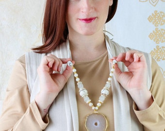 Geode Pendant on Ivory Beaded Necklace - Geode Necklace - Long Beaded and Leather Necklace - Boho Necklace - Kay and Star