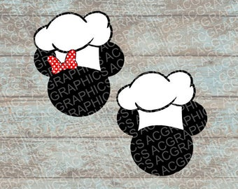 Chef Mickey and Minnie Mouse Heads SVG, DXF, JPEG, and Studio Downloads