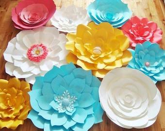 Set of 10 Large Paper Flowers - Paper Flowers | Paper Flower Backdrop | Flower Wall Art | Wedding Flowers | Home Decor | Baby Nursery Decor