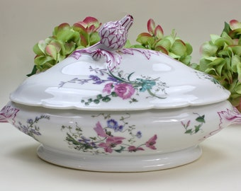 Old Paris Porcelain, Lidded Bowl, Vegetable Bowl, Hache & Pepin Lehalleur, France, c1876, Vintage China