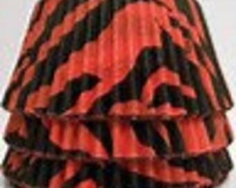 100 ct ZEBRA Print Cupcake liners RED & BLACK