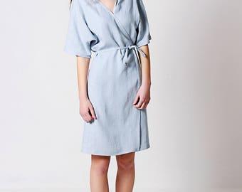 Linen Dress, Linen Wrap Dress, Linen Dresses for woman, Linen Kimono Dress,Linen Summer Dress, Bluish Grey Linen Dress, Casual Linen Dress