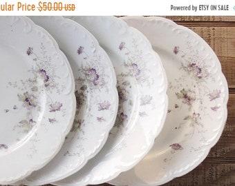 ON SALE antike Carlsbad China Abendessen Teller Set von 4 hergestellt in Österreich Lavendel Blumen Tee-Party Hochzeit, Cottage schicke Bauernhaus Ersatz
