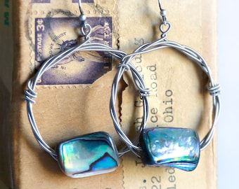 Strung-Out guitar string hoop earrings with Abalone