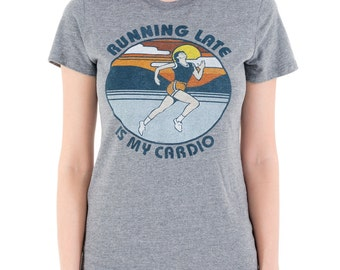 Running Late Is My Cardio (GT6795-102TGR) Girl's T-Shirt. Cardio, workout, i work out, gym, running, funny workout tees, funny t-shirts