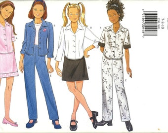 Butterick 6291   Girls Top, Skirt and Pants         Sizes 7,8,10   Uncut