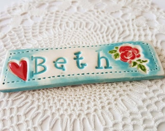 Personalized Clay Name Plate Magnet, Custom Made Name Plate, Made to Order, Clay Magnet, Ceramic Name Plate