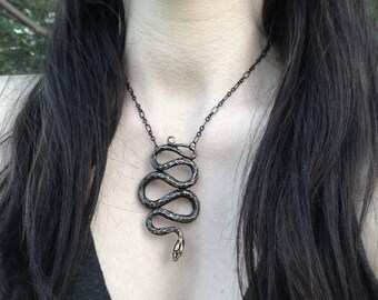Asclepius Snake Necklace - Inspired by Garden Snakes -  Serpent Holder - Made by Jamie Spinello - Renenutet Goddess of Nourishment