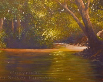 Woodland River Landscape Art. Original Painting by award winning British artist JOHN SILVER. B.A. 20 x 16 inches