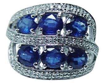 Vintage 14K White Gold 3ct Sapphire Diamond Ring Band Estate Jewelry