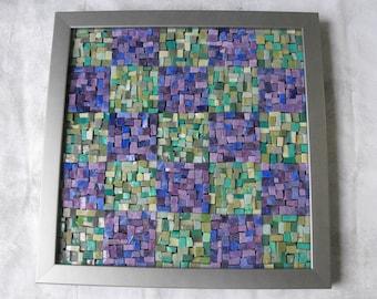 Glass Mosaic Art ~ Handmade  Italian Smalti Glass Mosaic Wall Hanging - Purple and Green Mosaic Art by ElleBelleArt