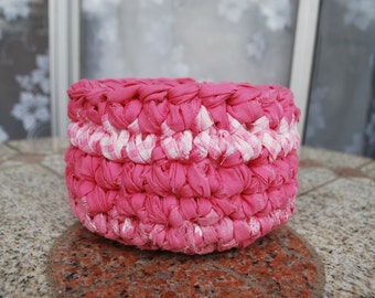 Pink and white crochet Basket