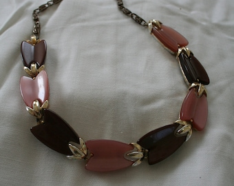 Designer Choker in Peach and Brown Signed Lisner