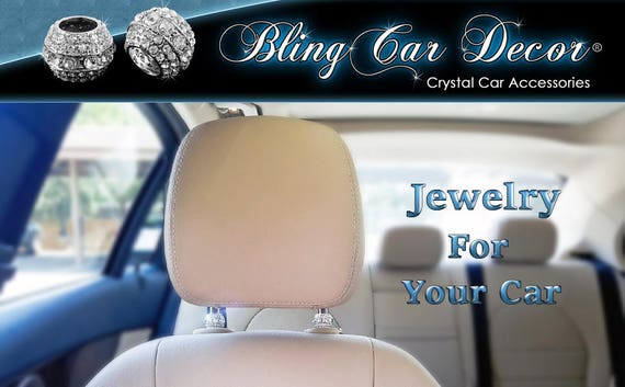 Icy Crystal Car Seat Headrest Collar Charms Rhinestone Interior Accessory Decoration Accessories For Women Bling