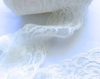 "White Lace Elastic 2""- Lace Elastic by the yard - Stretch Lace- Headband lace- Soft Lace"