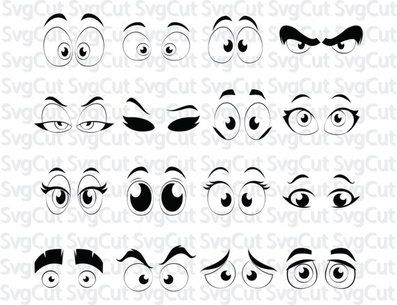Cartoon Silhouette Comic Eyes Template Svg Printable Eye