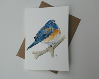 ORIGINAL Blue Bird Watercolor card / Blue Bird Painting /  Bluebird Art