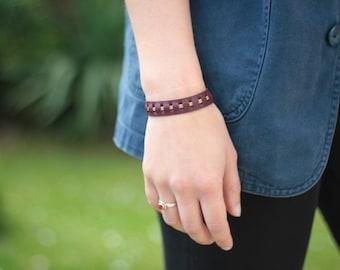 Charlie Burgundy leather bracelet