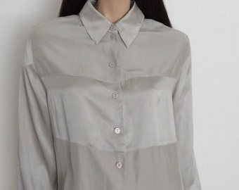 BETTY BARCLAY silver silk blouse size 42 - uk 14 - us 10
