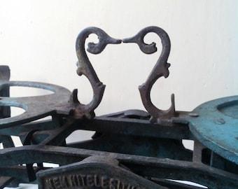 15%Off Antique Market cast iron Scale With brass Pans- Antique patina blue Cast Iron Kitchen Scale - Antique Market Scale