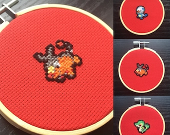 Gen 5, starter pokemon, gen 5 cross stitch, 8 bit pokemon, pokemon art, pokemon, 8 bit cross stitch, Snivy, Tepig, Oshawott